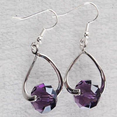 Silver Hoop Earrings: Amethyst-colored Crystals