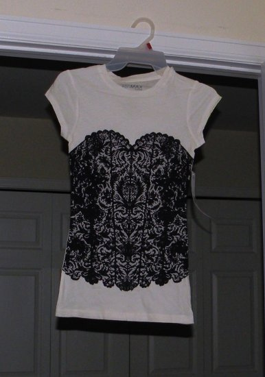 Black Bustier / White T-Shirt, Small, new w/ tags