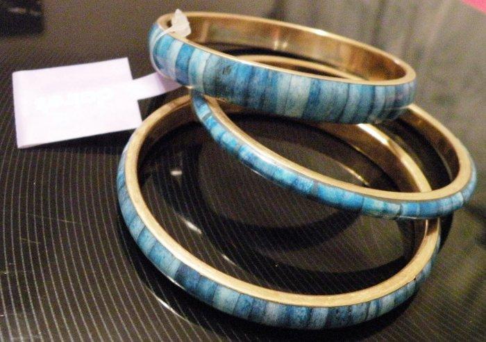 (set of 3) Blue/Turquoise & Gold-tone Bangle Bracelets