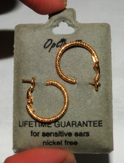Earrings: Gold Tone Textured Mini Hoops, sensitive ears