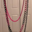 Pink & Black Chain Necklaces (3 in 1) 16-24 inches, new