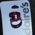 Pink & Black Metal Stackable Rings (set of 5) Size 6