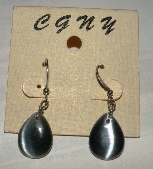 Navy Blue / Charcoal Dangle Earrings, Opal-like Reflection
