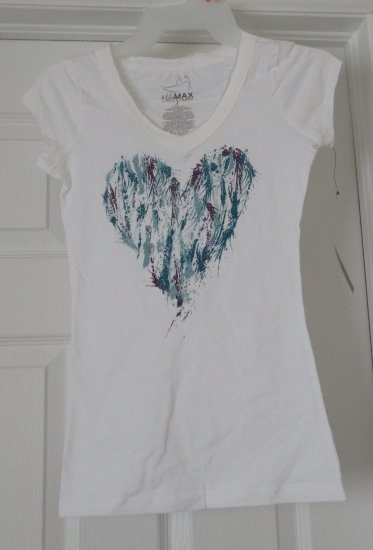 Purple & Teal Heart / White T-Shirt, X-Small, new w/ tags