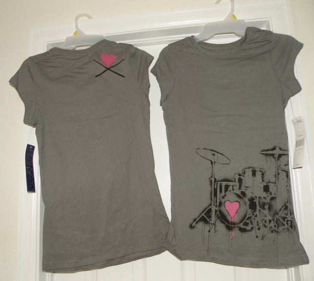 Drums & Pink Hearts Rocker Girl / Gray T-Shirt, Large, new w/ tags