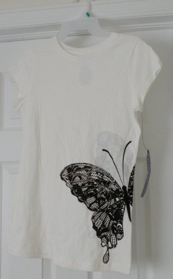 Black Butterfly on Hip / White T-Shirt, X-Large, new w/ tags