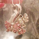 Crystal Butterfly Necklace, Pink &Clear Rainbow