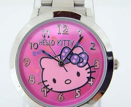 Hello Kitty Metal Link Watch, Rose & Purple Face