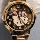 Hello Kitty Metal Link Watch, Black Face with pink & purple