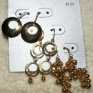 Gold Tone Earrings Lot of 3: Dangle Hoops and Beads nwt