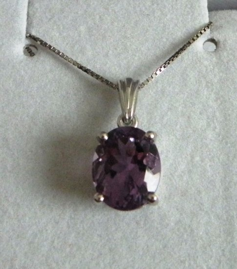 3.25 ct Amethyst solitaire Pendant Necklace, Platinum over Sterling Silver