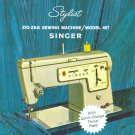 Singer Model 457 Stylist Sewing Machine MANUAL in pdf format