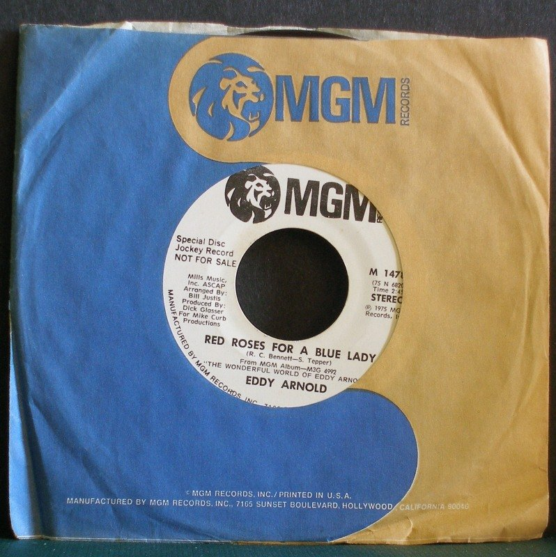 EDDY ARNOLD~Red Roses for A Blue Lady~ MGM M 14780 1975, PROMO 45