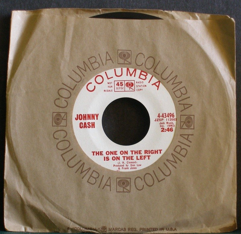 JOHNNY CASH~One on the Right is on the Left~ Columbia 43496 1965, PROMO 45 VG++
