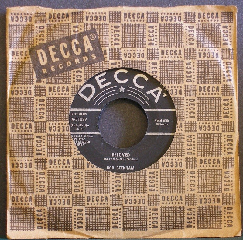BOB BECKHAM~Beloved / Crazy Arms~ Decca 9-31029 1959, 45