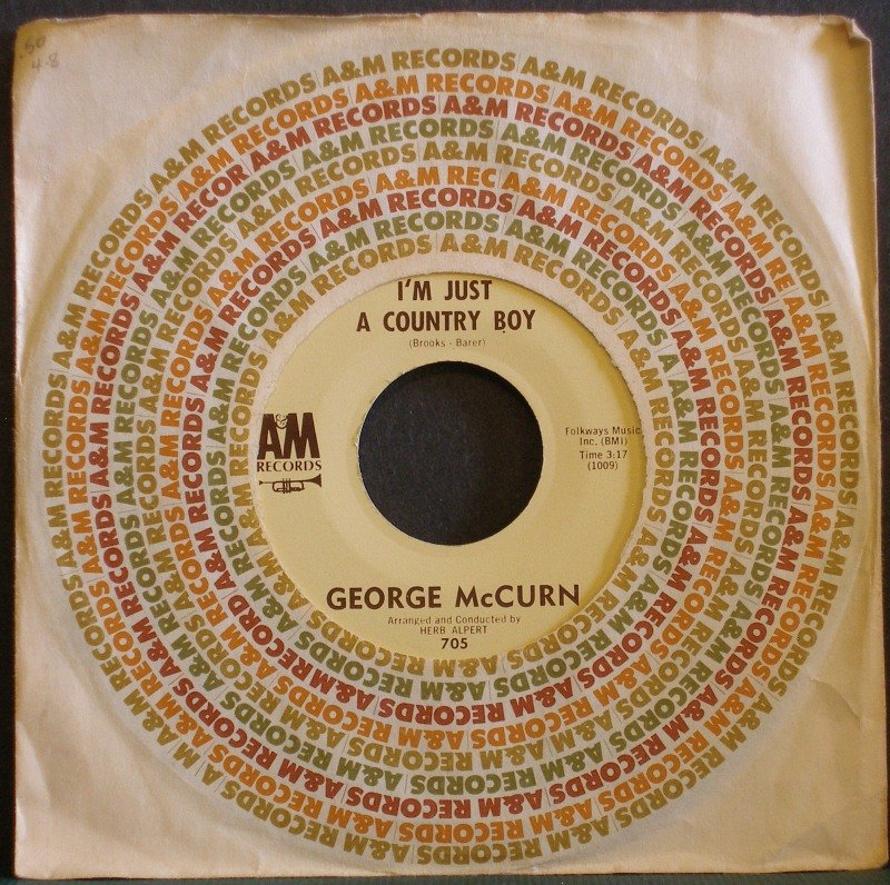 GEORGE MCCURN~I'm Just a Country Boy / In My Little Corner~ A&M 705 1963, 45