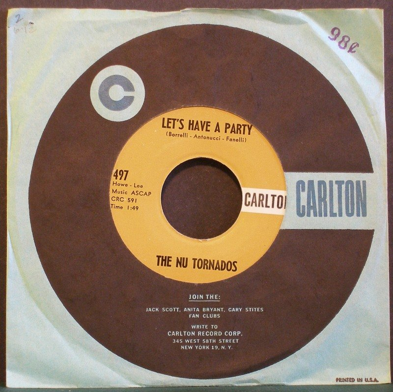 THE NU TORNADOS~The Ole Mummers Strut / Let's Have a Party~ Carlton 497 1959, 45