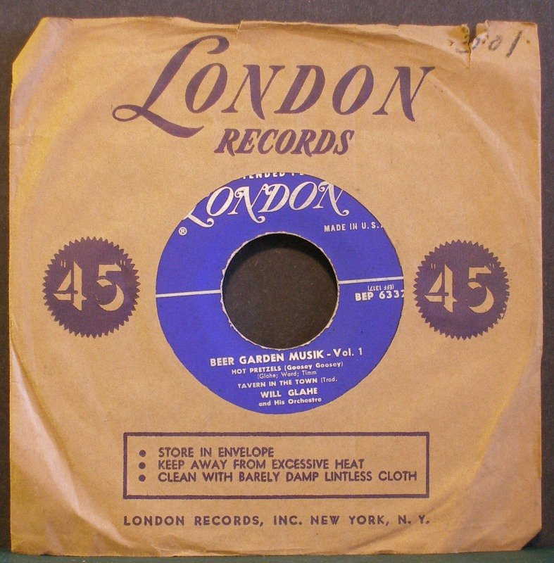 WILL GLAHE~Beer Garden Musik - Vol. 1~ London BEP 6332 45 EP
