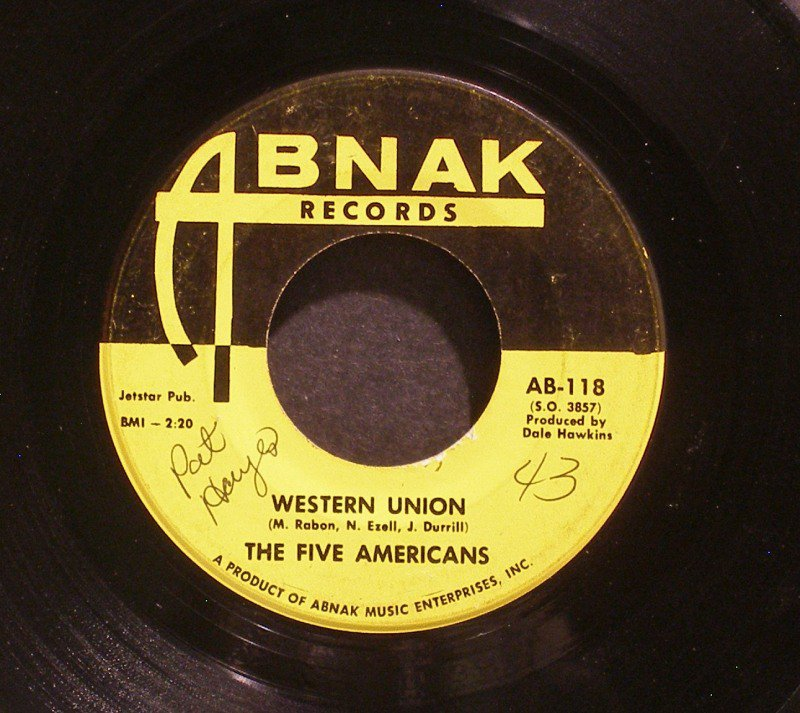 FIVE AMERICANS~Western Union / Now That it's Over~ Abnak AB-118 1967, 45
