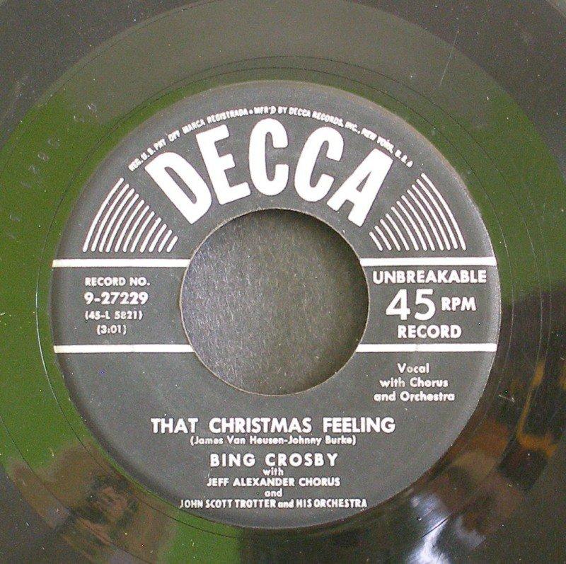 BING CROSBY~That Christmas Feeilng / Silver Bells~ Decca 9-27229 45