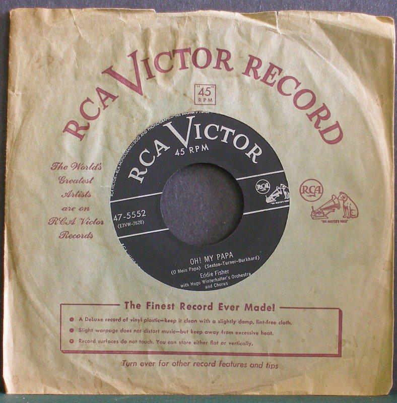 EDDIE FISHER~Oh! My Papa (O Mein Papa)~ RCA Victor 47-5552 1953, 45