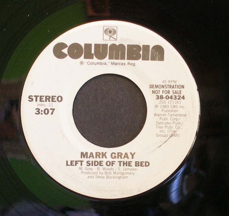 MARK GRAY~Left Side Of the Bed~ Columbia 38-04324 1983, PROMO 45