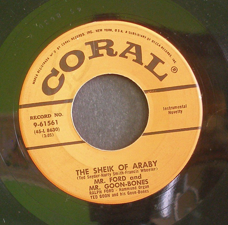 MR. FORD & MR. GOON-BONES~The Sheik of Araby / Isle of Capri~ Coral 9-61561 1956, 45