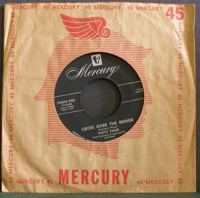 PATTI PAGE~Cross Over the Bridge / My Restless Lover~ Mercury 70302-X45 1954, 45