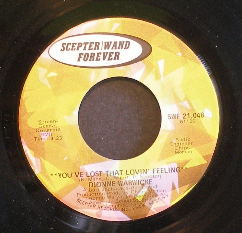 DIONNE WARWICK~You've Lost That Lovin' Feeling / Unchained Melody~ Scepter SWF 21,048 45