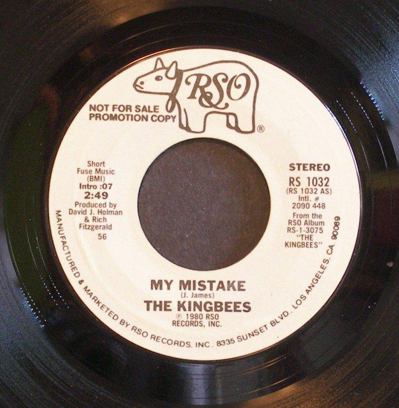 KINGBEES~My Mistake~ RSO RS 1032 1980, PROMO 45