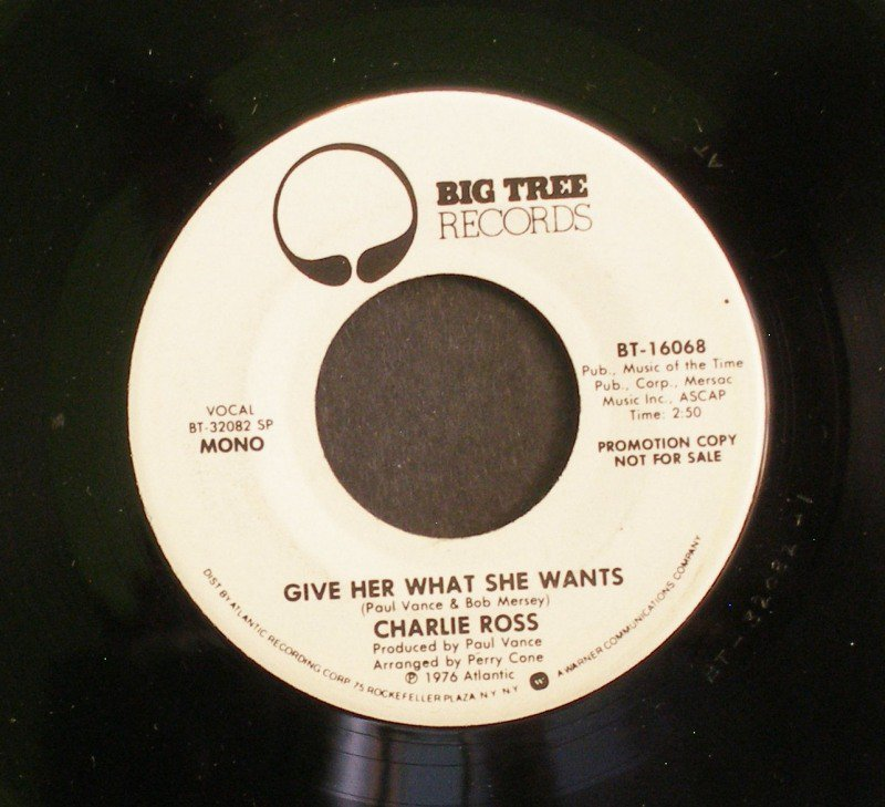 CHARLIE ROSS~Give Her What She Wants~ Big Tree BT-16068 1976, PROMO 45