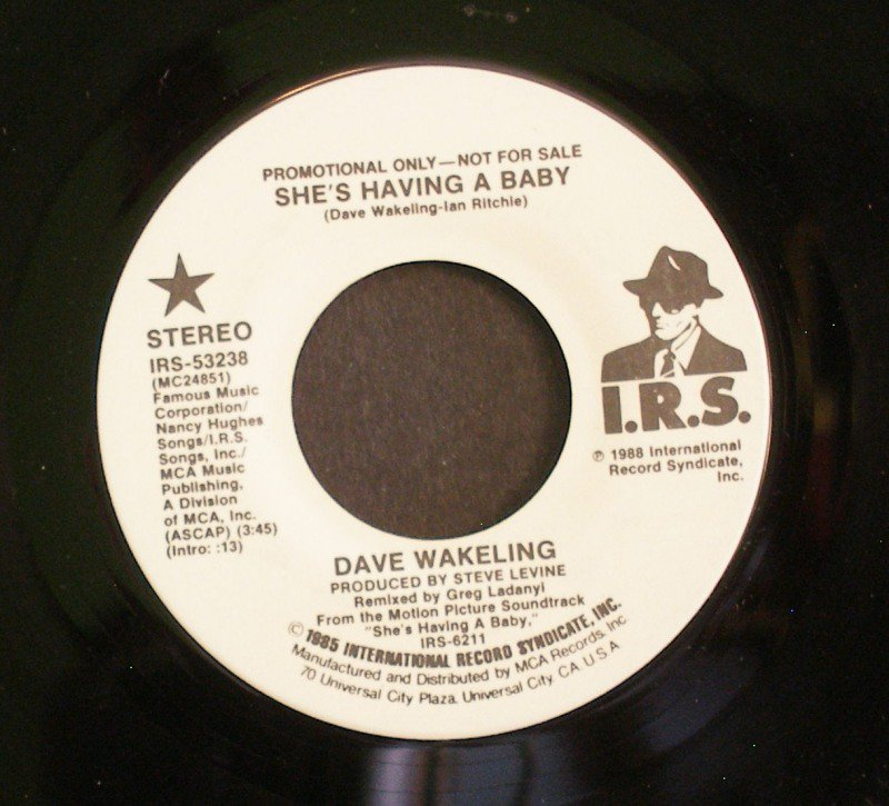 DAVE WAKELING~She's Having a Baby~ I.R.S. IRS-53238 1985, PROMO 45