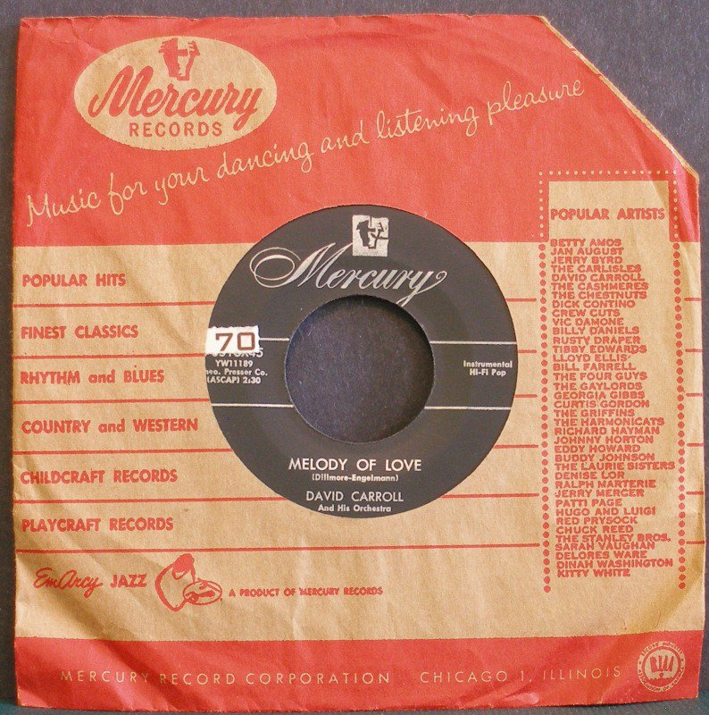 DAVID CARROLL~Melody of Love / La Golondrina~ Mercury 70516X45 1954, 45