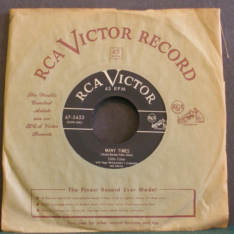 EDDIE FISHER~Many Times / Just to Be with You~ RCA Victor 47-5453 1953, 45