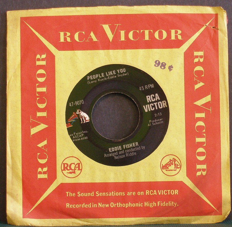EDDIE FISHER~People Like You / Come Love!~ RCA Victor 47-9070 1967, 45