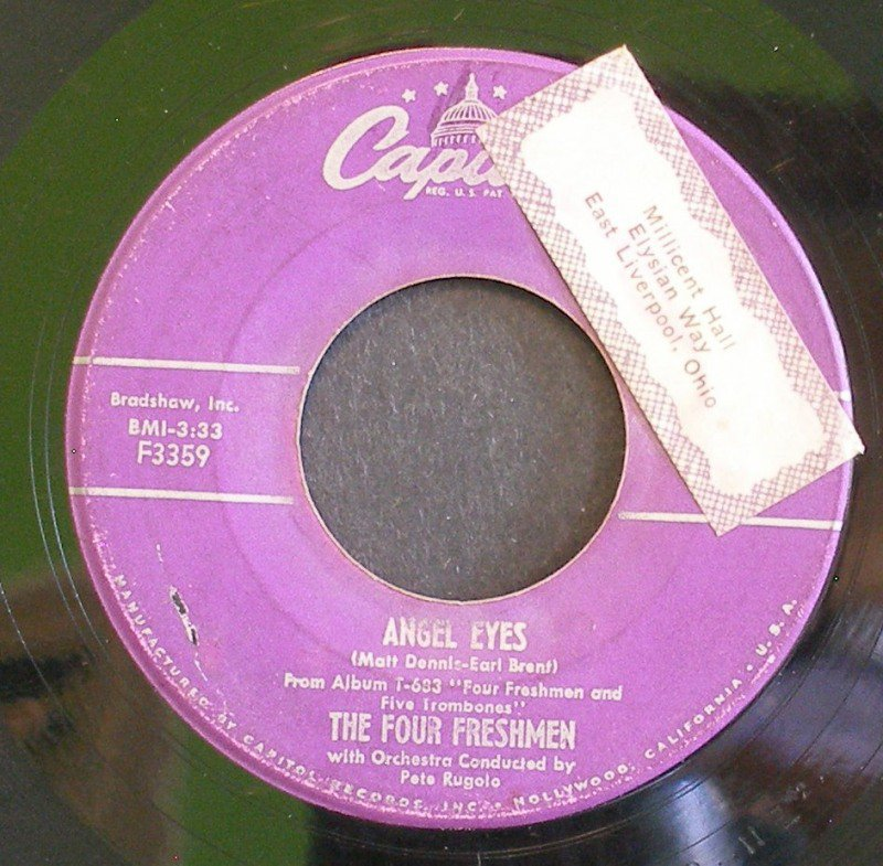 THE FOUR FRESHMAN~Angel Eyes / Love is Just Around the Corner~ Capitol F3359 1956, 45