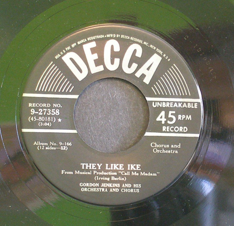 GORDON JENKINS~They Like Ike / Lichtenburg~ Decca 9-27358 1950, 45
