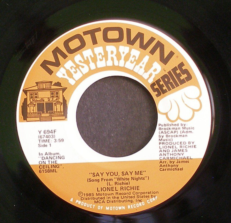 LIONEL RICHIE~Say You, Say Me / Ballerina Girl~ Motown Y 694F 45