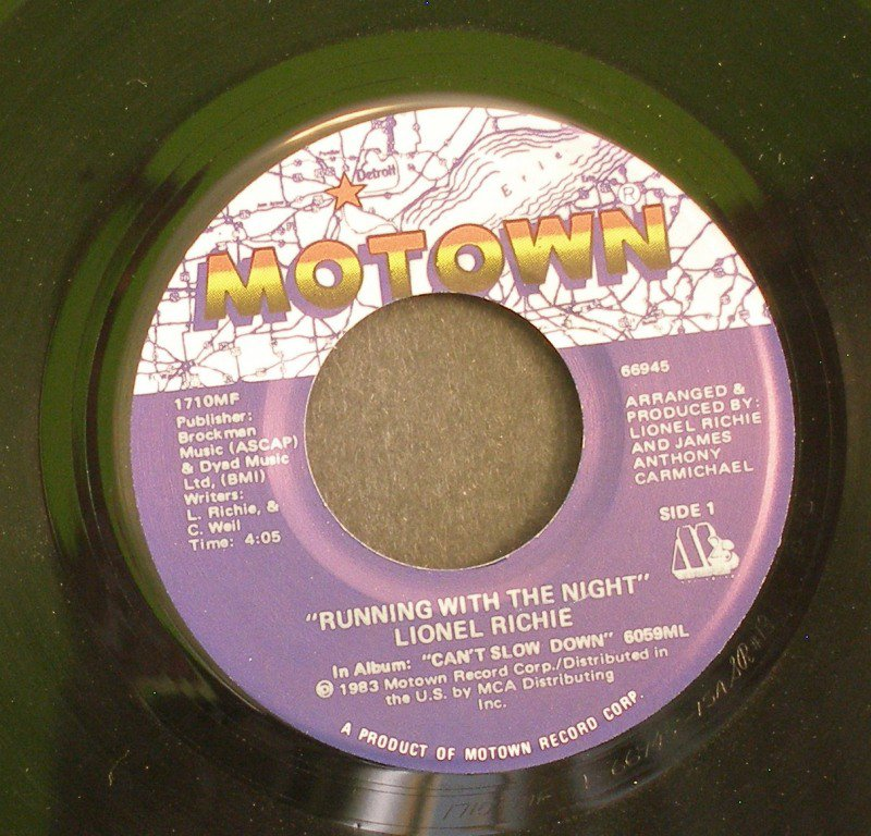 LIONEL RICHIE~Running with the Night / Serves You Right~ Motown 1710MF 1982, 45