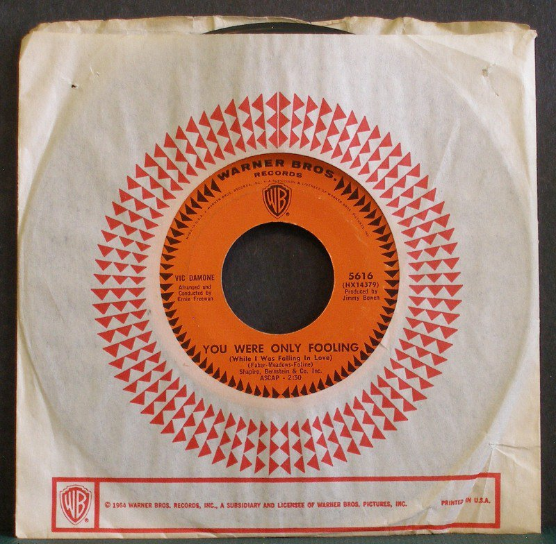VIC DAMONE~You Were Only Fooling / Please Help Me, I'm Falling~ Warner Bros. 5616 45