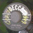 BING CROSBY~Star Dust / Deep Purple~ Decca 9-25285 1951, 45