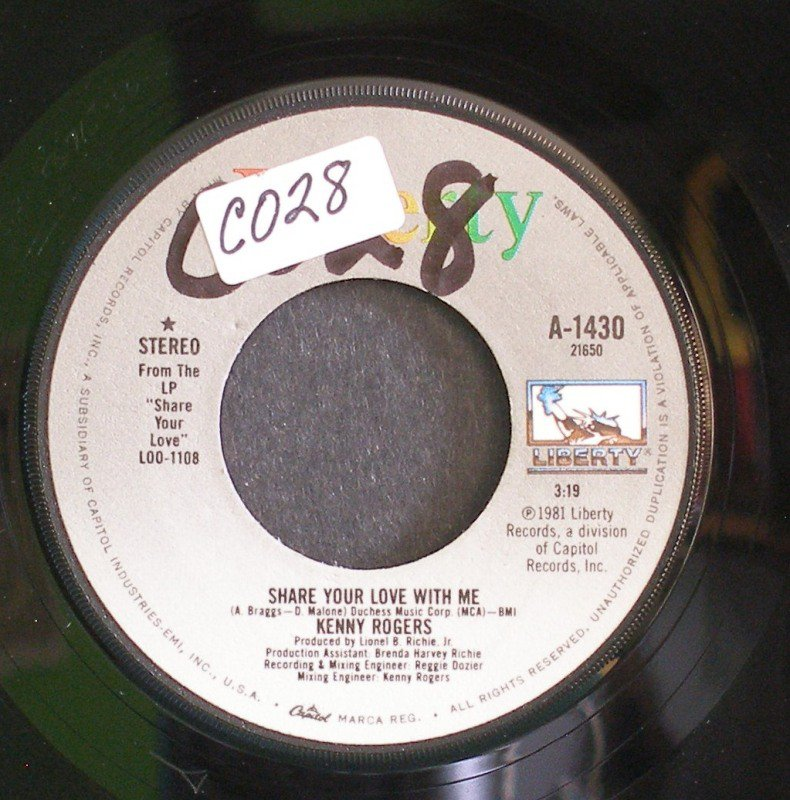 KENNY ROGERS~Share Your Love with Me / Greybeard~ Liberty A-1430 1981, 45