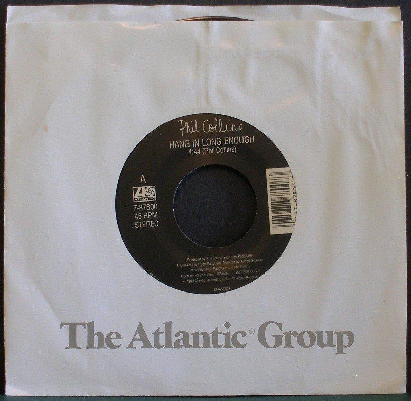 PHIL COLLINS~Hang in Long Enough / Separate Lives (Live)~ Atlantic 7-87800 1990, 45