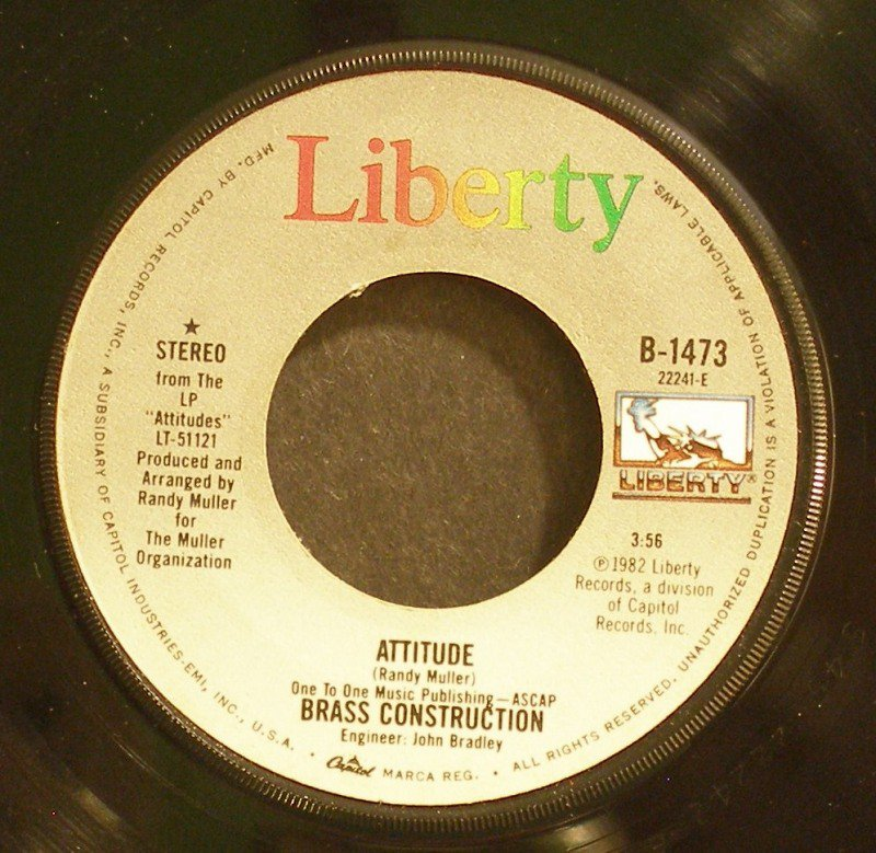 BRASS CONSTRUCTION~Attitude / HotDog~ Liberty B-1473 1982, 45