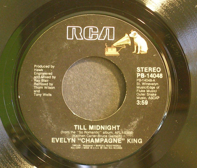 EVELYN CHAMPAGNE KING~Till Midnight / I'm So Romantic~ Rca PB-14048 45