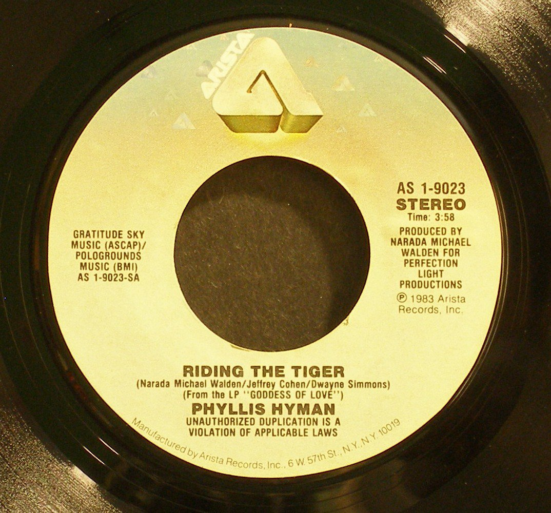 PHYLLIS HYMAN~Riding the Tiger~ Arista AS 1-9023 1983, 45
