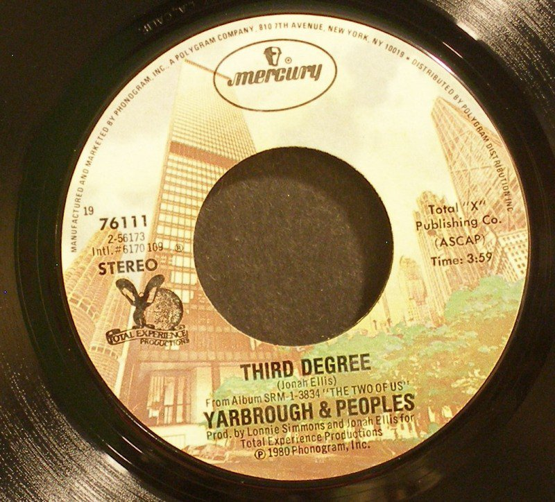 YARBROUGH & PEOPLES~Third Degree / Want You Back Again~ Mercury 76111 1980, 45