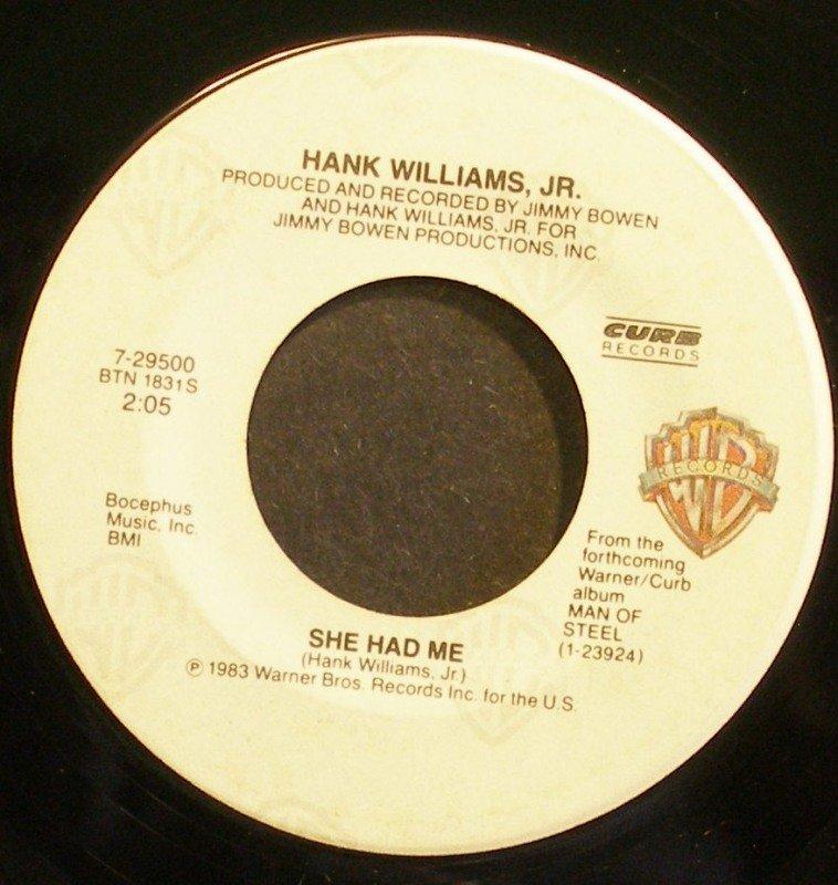 HANK WILLIAMS, JR.~She Had Me~Warner Bros. 29500 VG+ 45
