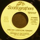JOHN SCHNEIDER & JILL MICHAELS~Are You Lonesome Tonight~Scotti Bros. 03945 Promo VG+ 45