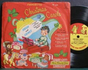 "JESSE CRAWFORD~Christmas Carols~Peter Pan 12 Rare VG+ 7"" 78 RPM Vinyl"
